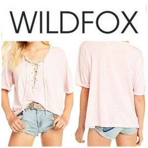 Wildfox Maxwell Lace Up Tee Pink